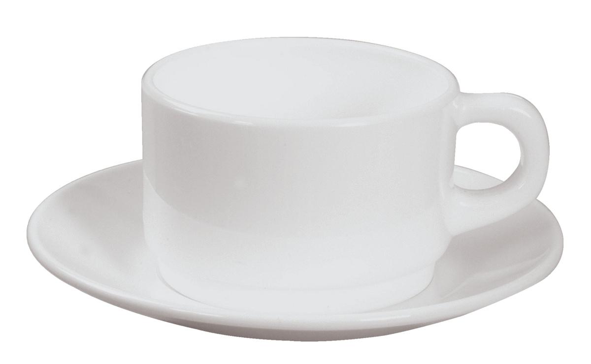 Sous-tasse à déjeuner rond blanc verre Ø 16 cm Opal Blanc Arcoroc