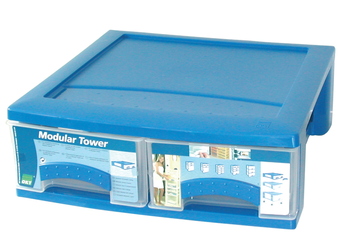 Bloc clear box rectangulaire bleu plastique 39,50x40 cm Plastorex