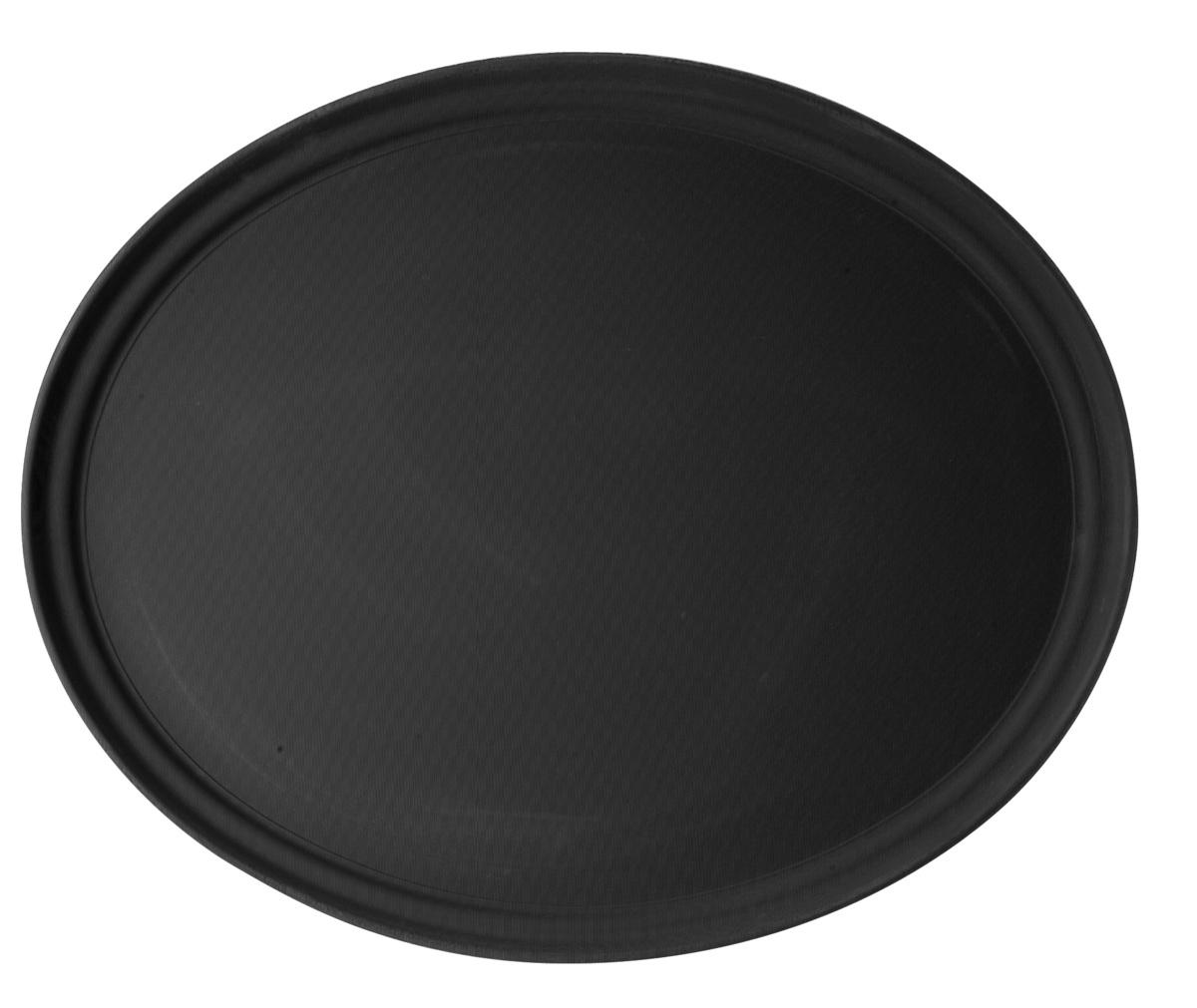 Plateau anti-dérapant ovale noir fibre de verre bord droit Camtread Cambro