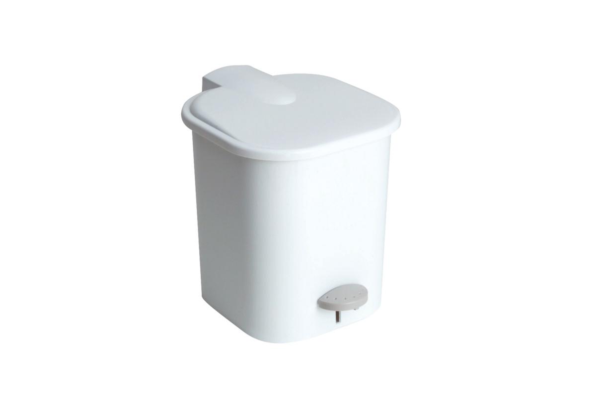 Poubelle à pédale ronde blanc plastique 4 l Gilac