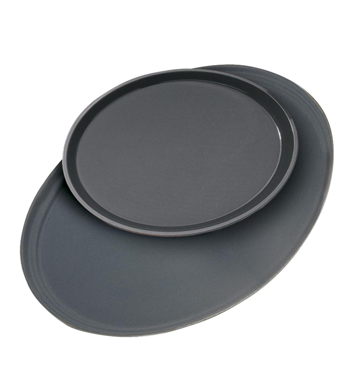 Plateau anti-dérapant rond noir fibre de verre bord droit Camtread Cambro
