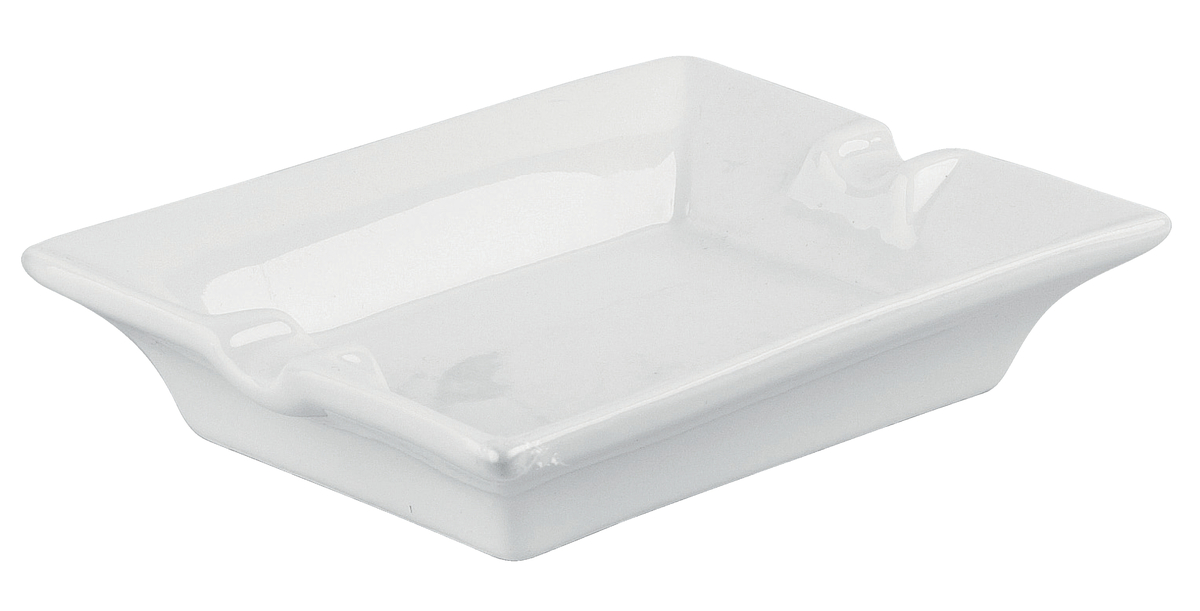 Cendrier rectangulaire blanc 9,60x12,80 cm 2,50 cm