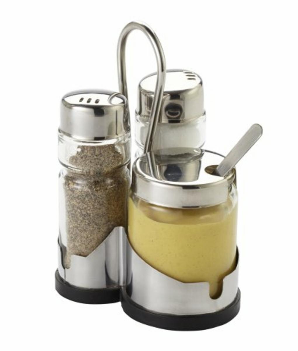 Ménagère sel/poivre/moutarde transparente 13 cm Eco Pro.mundi