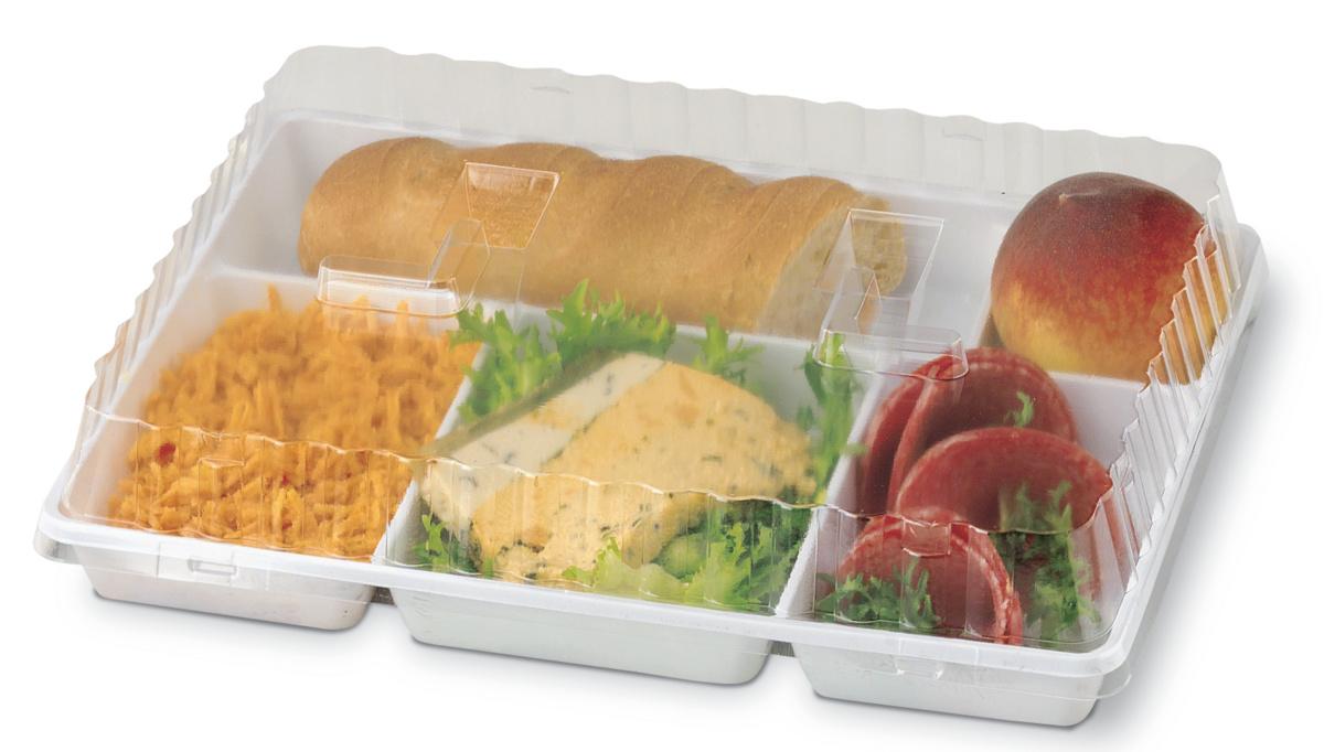 Couvercle plateau repas rectangulaire transparent plastique 23,10x29,70 cm Alphaform (50 pièces)