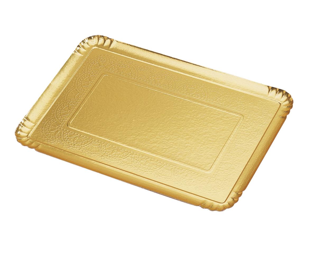 Plateau traiteur rectangulaire or carton 28x42 cm Nordia (25 pièces)