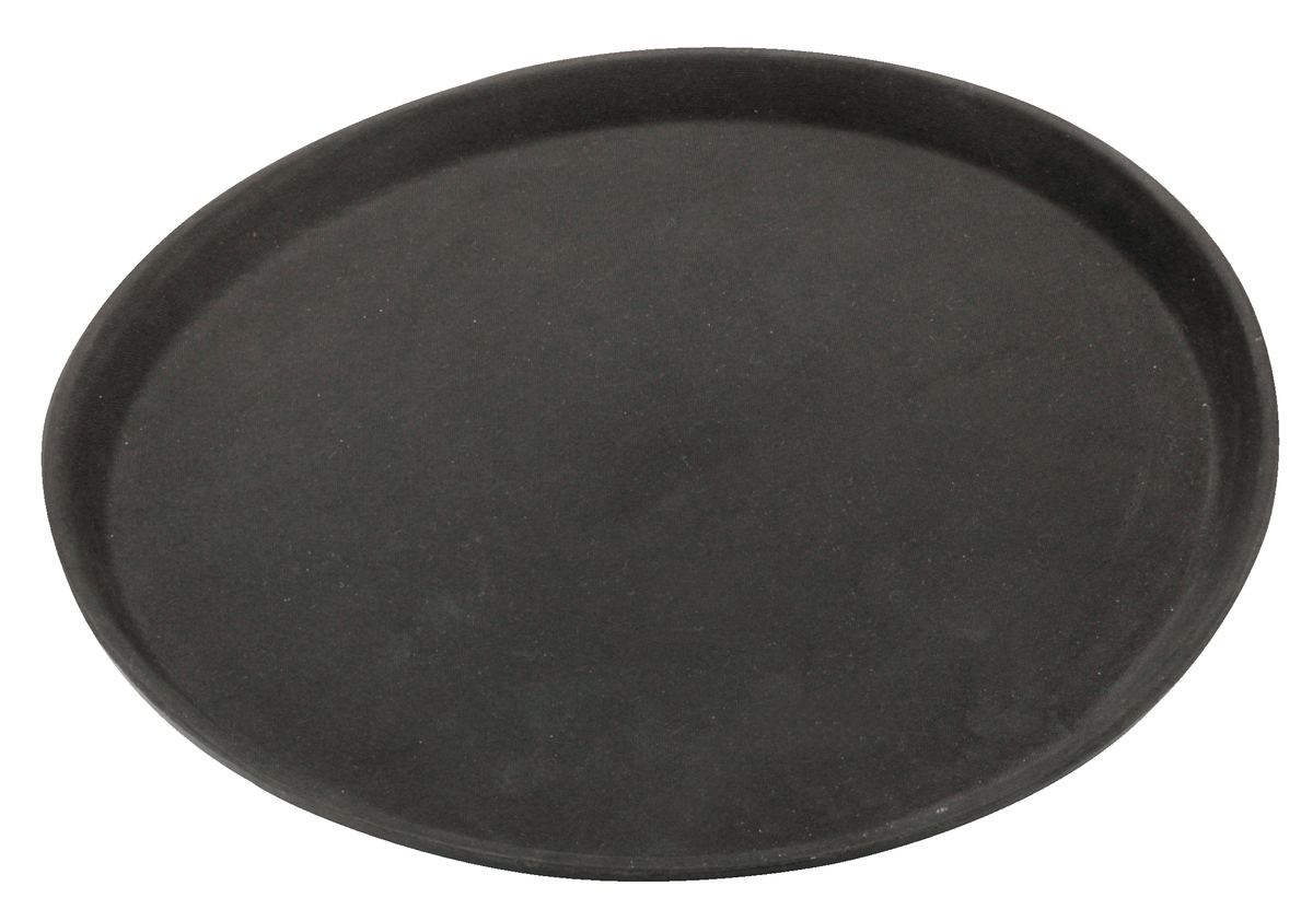 Plateau anti-dérapant rond noir plastique bord droit