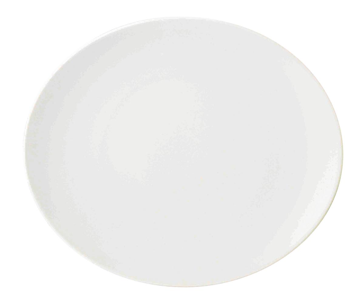 Assiette à steak ovale blanc porcelaine 25,50x30 cm
