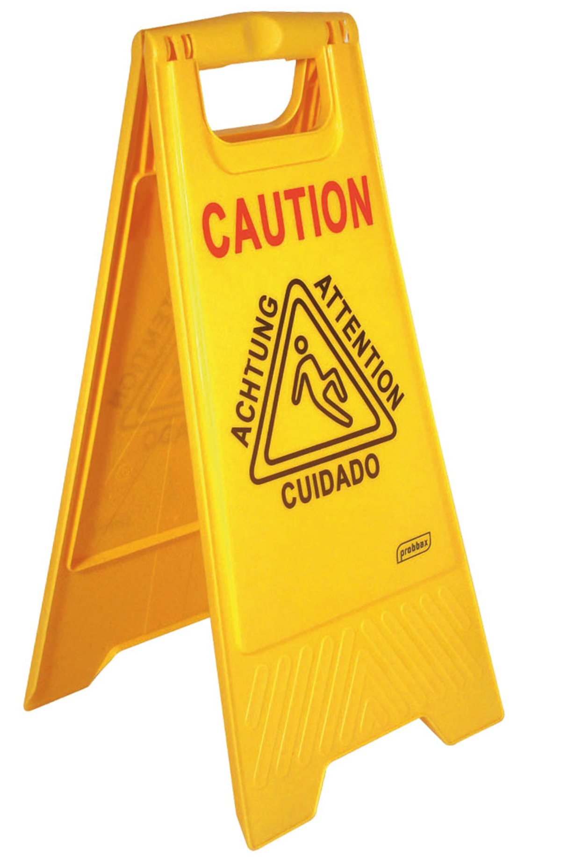 Panneau avertissement sol glissant rectangulaire jaune 28 cm Probbax