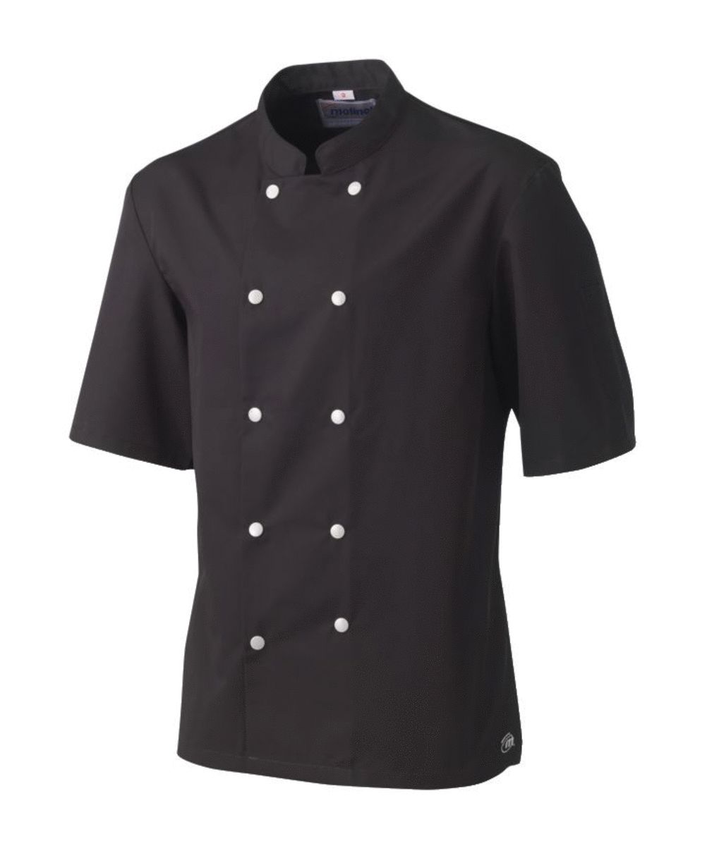 Veste de cuisine homme manche courte noire taille 5 Blake Molinel