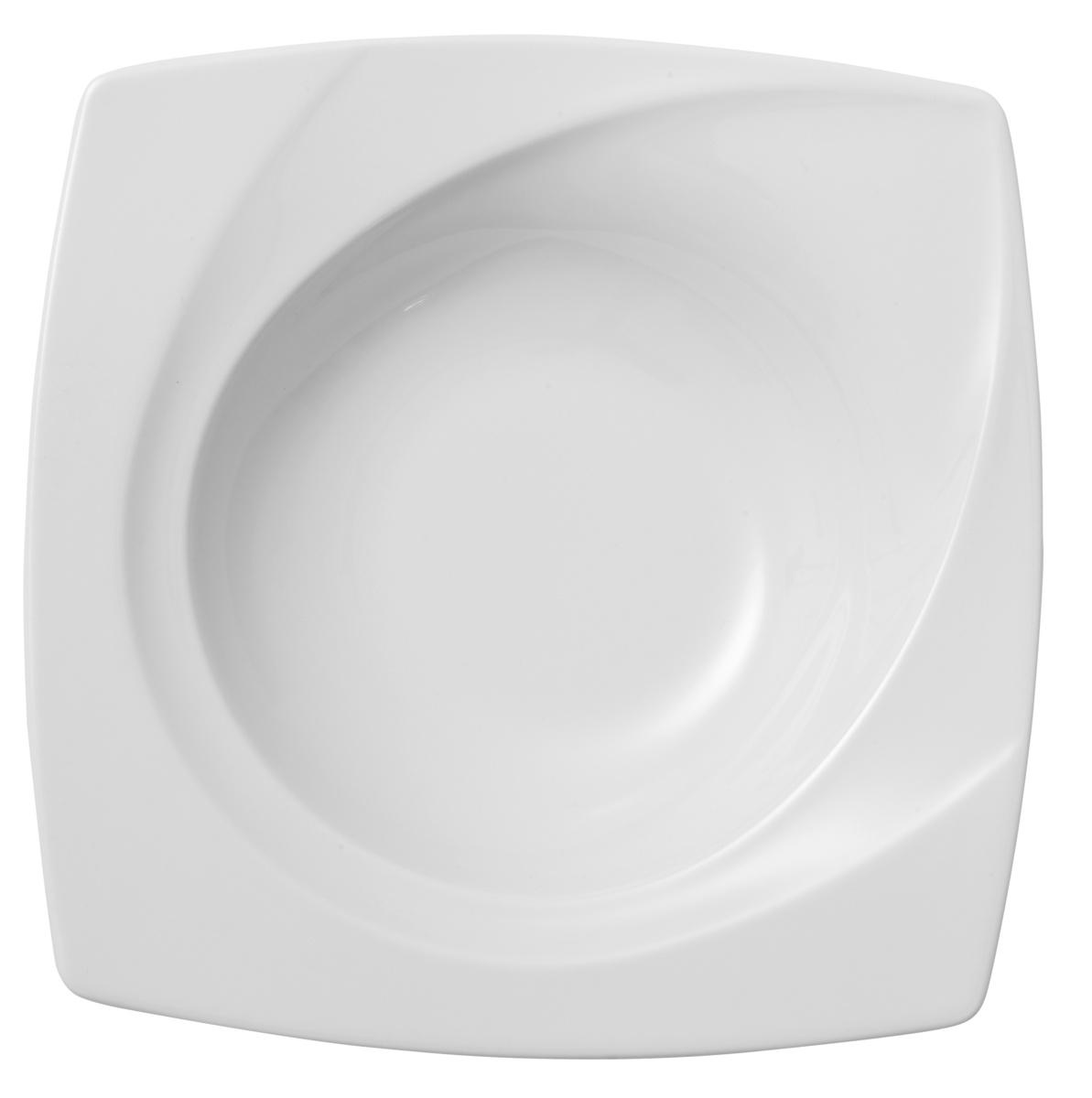 Assiette creuse carrée blanc porcelaine 23x23 cm Celebration