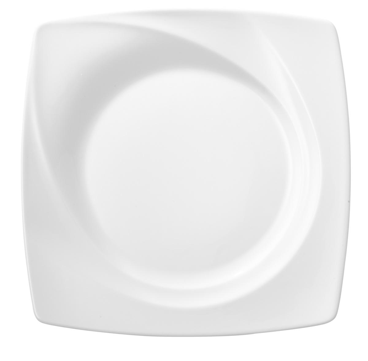 Assiette plate carré blanc Celebration