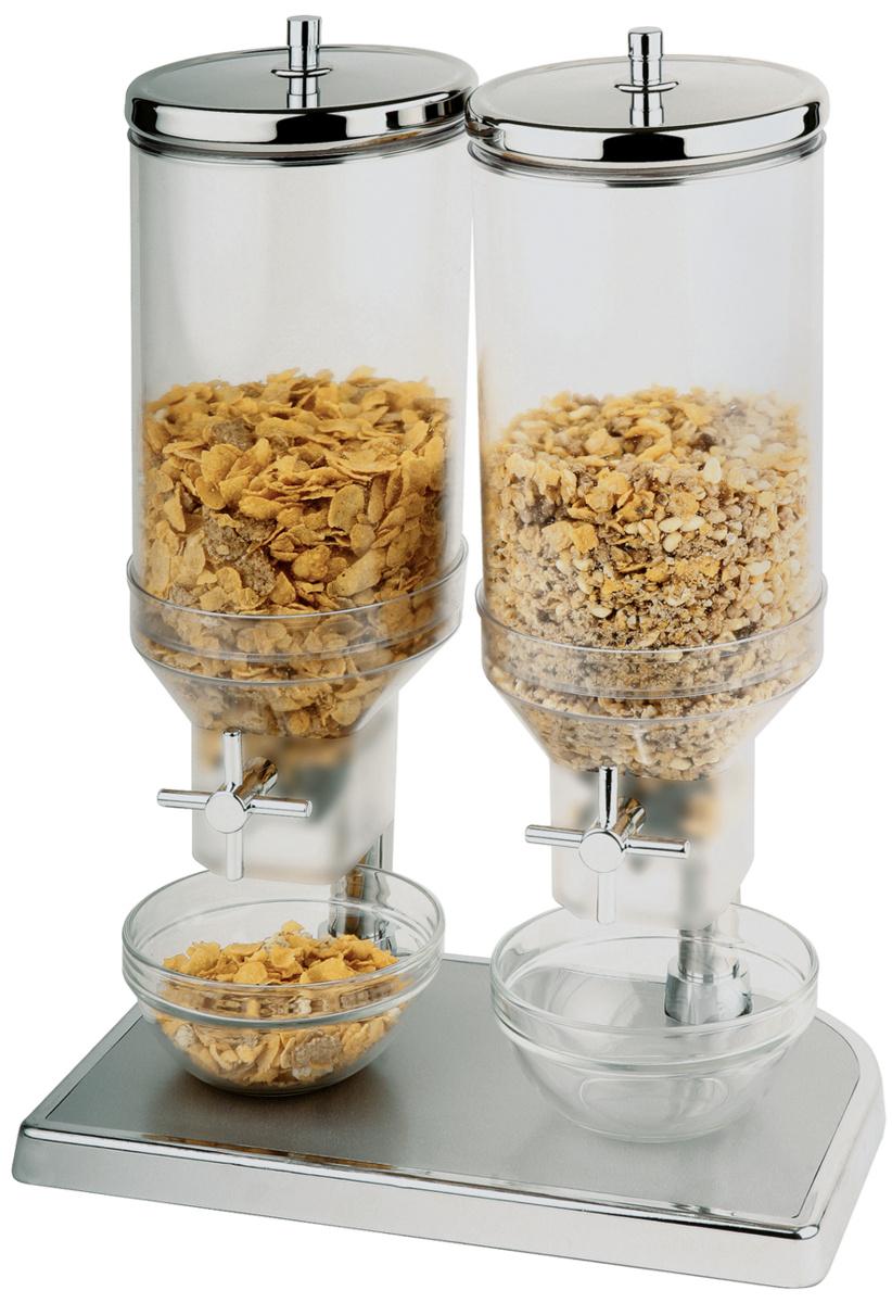 Distributeur à céréales rectangulaire gris inox 22 cm