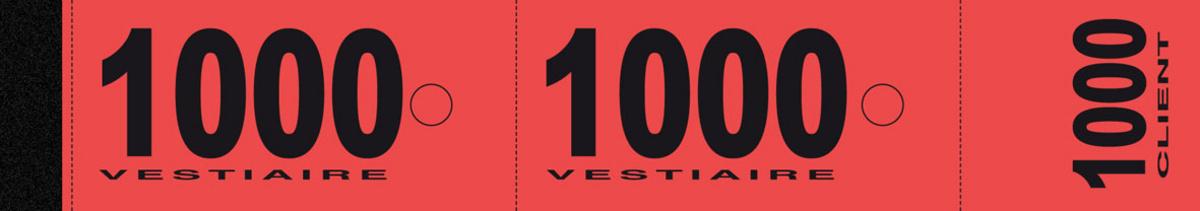 Numéro de vestiaire rouge papier 3x20 cm (1000 pièces)