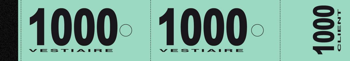 Numéro de vestiaire vert papier 3x20 cm (1000 pièces)