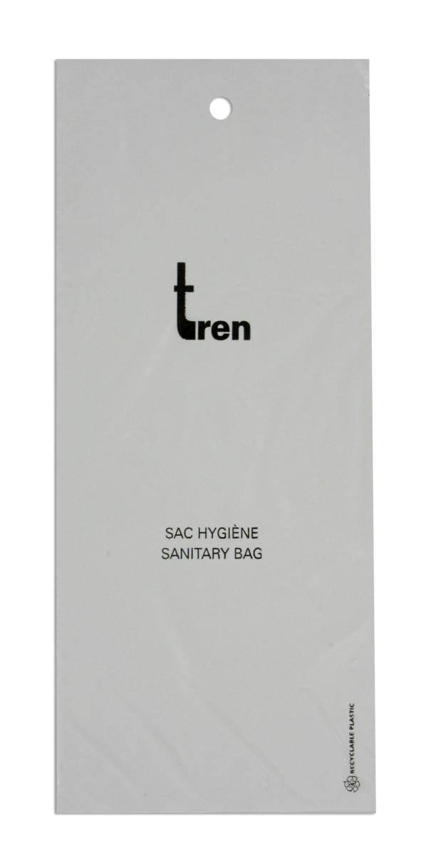 Carton 1000 sacs hygiène blanc plastique 11x25 cm Tren (1000 pièces)
