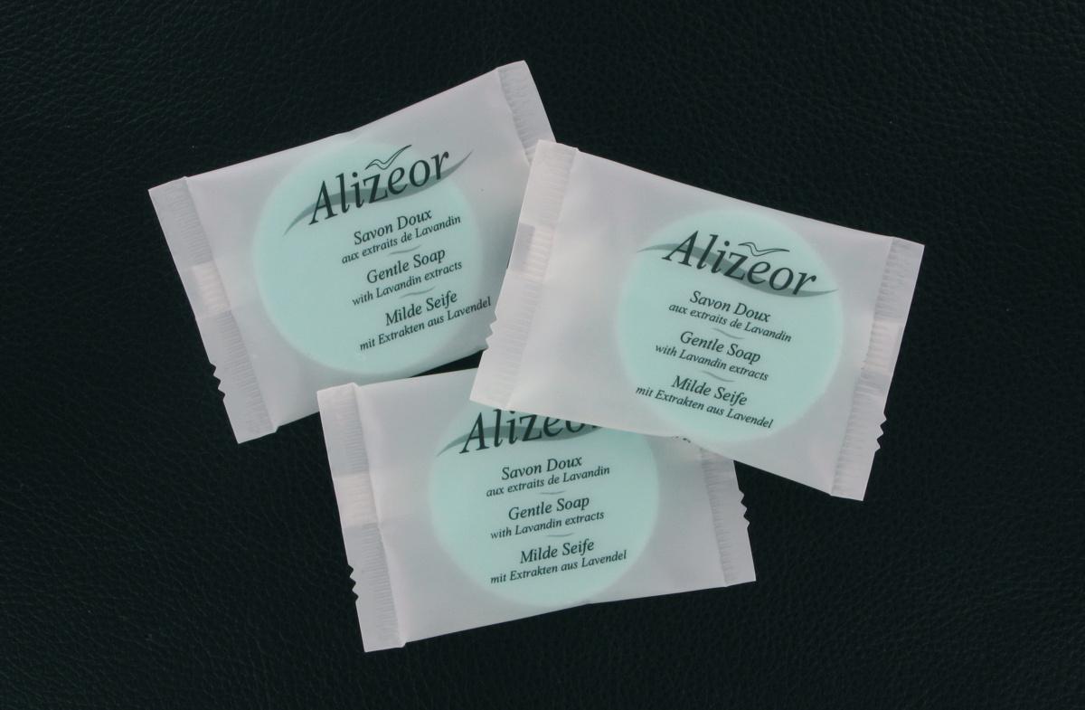 Carton 250 savons ronds 12g Alizeor (250 pièces)