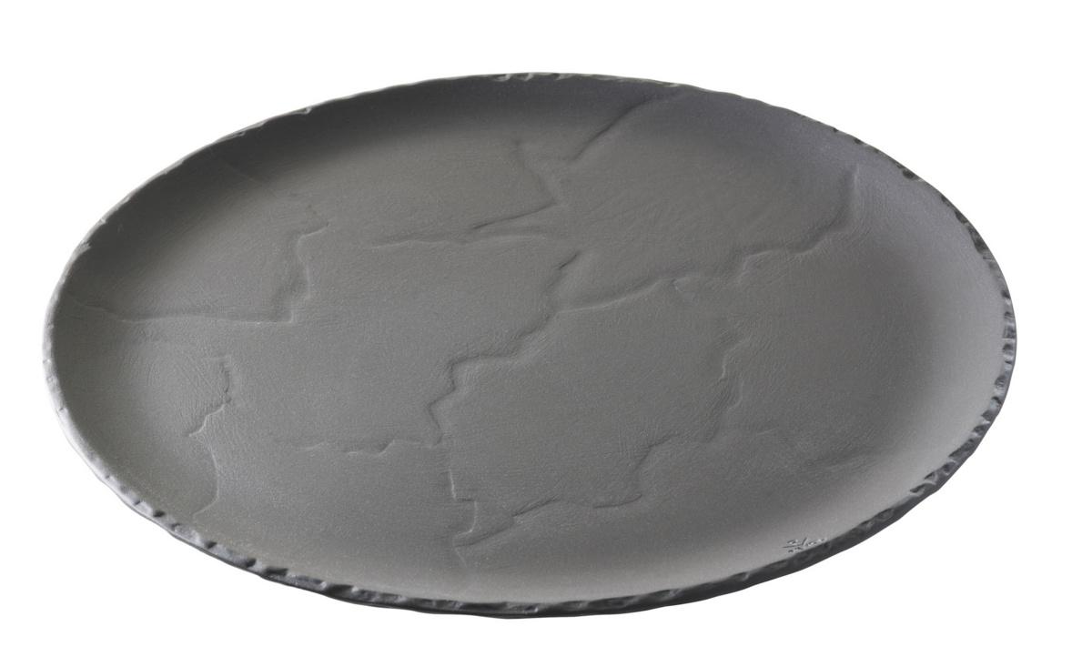 Assiette plate rond noir Basalt Revol