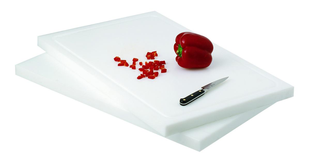 Planche à découper blanc polyéthylène haute densité 32,50x53 cm gn 1/1 Avec rigole Non réversible Pro.cooker