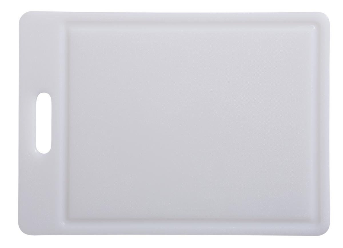 Planche à découper blanc polyéthylène haute densité 25x35 cm Avec rigole Non réversible Pro.cooker