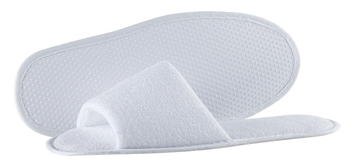 Carton 100 chaussons bout ouvert blanc pointure 43 Chaussons Hotellerie (100 pièces)