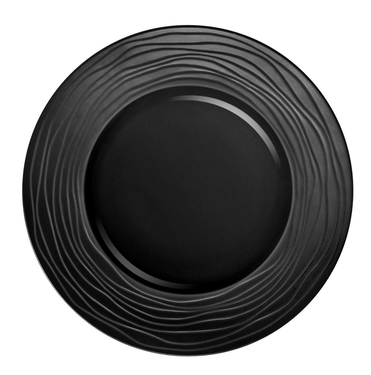 Assiette plate ronde noire grès Ø 31,50 cm Escale Medard De Noblat