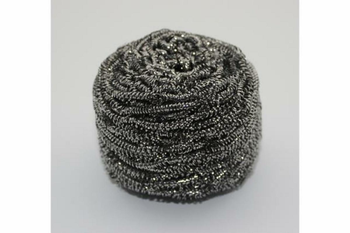 Lot de 10 boules de récurage inox 60g rond gris (10 pièces)