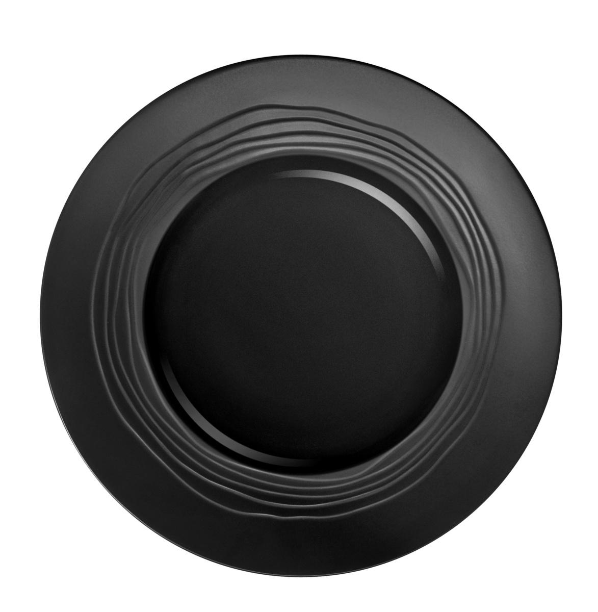 Assiette plate ronde noire grès Ø 21,50 cm Escale Medard De Noblat