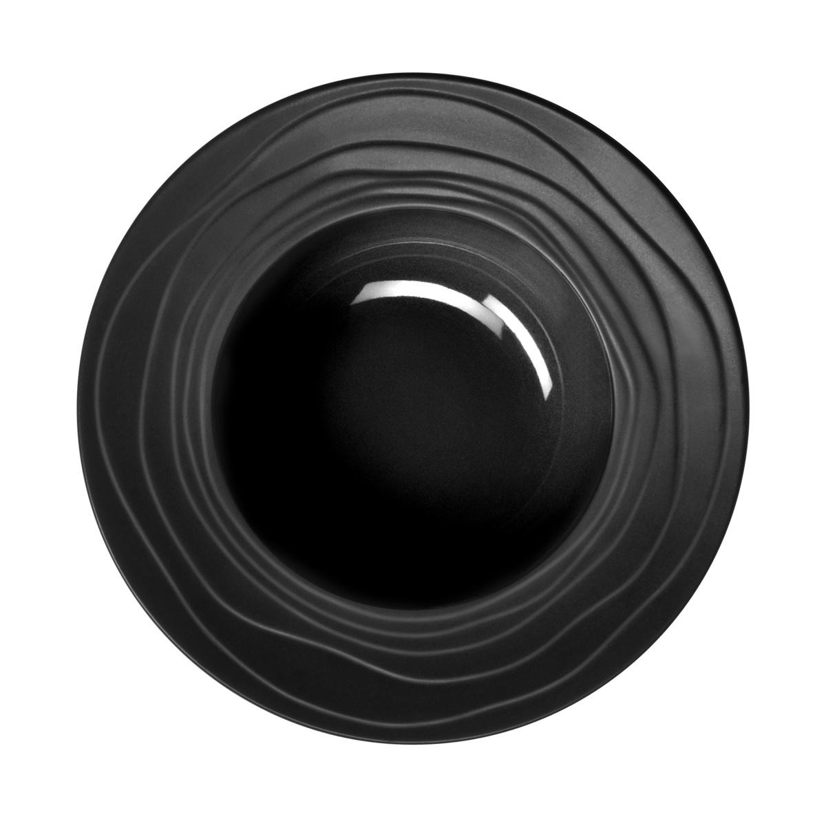 Assiette creuse ronde noire grès Ø 22,50 cm Escale Medard De Noblat