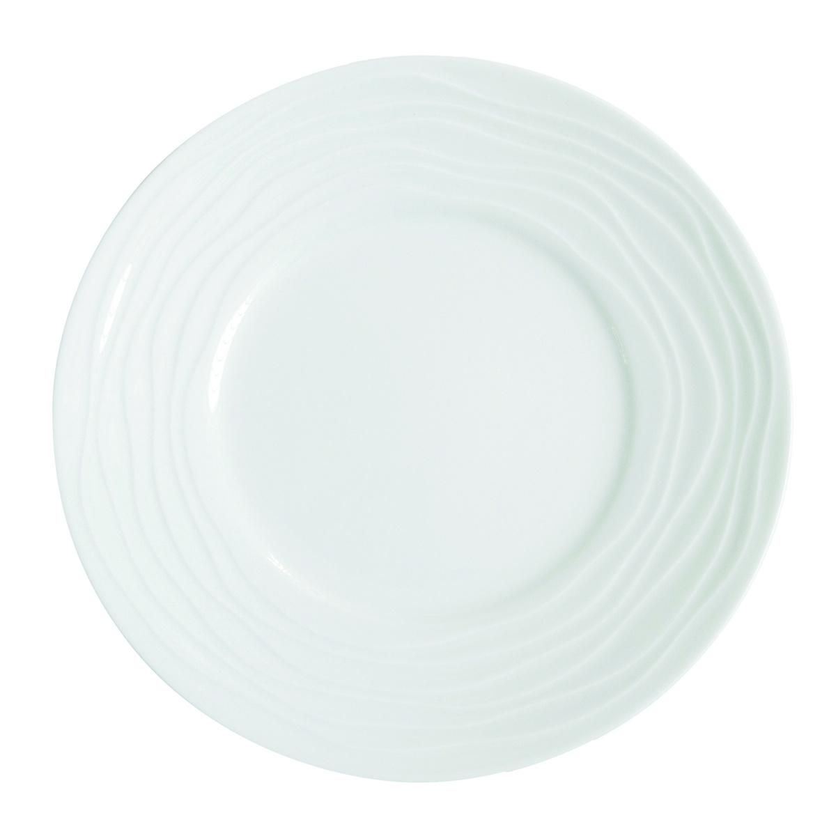 Assiette plate ronde blanc porcelaine Ø 27,50 cm Onde Medard De Noblat