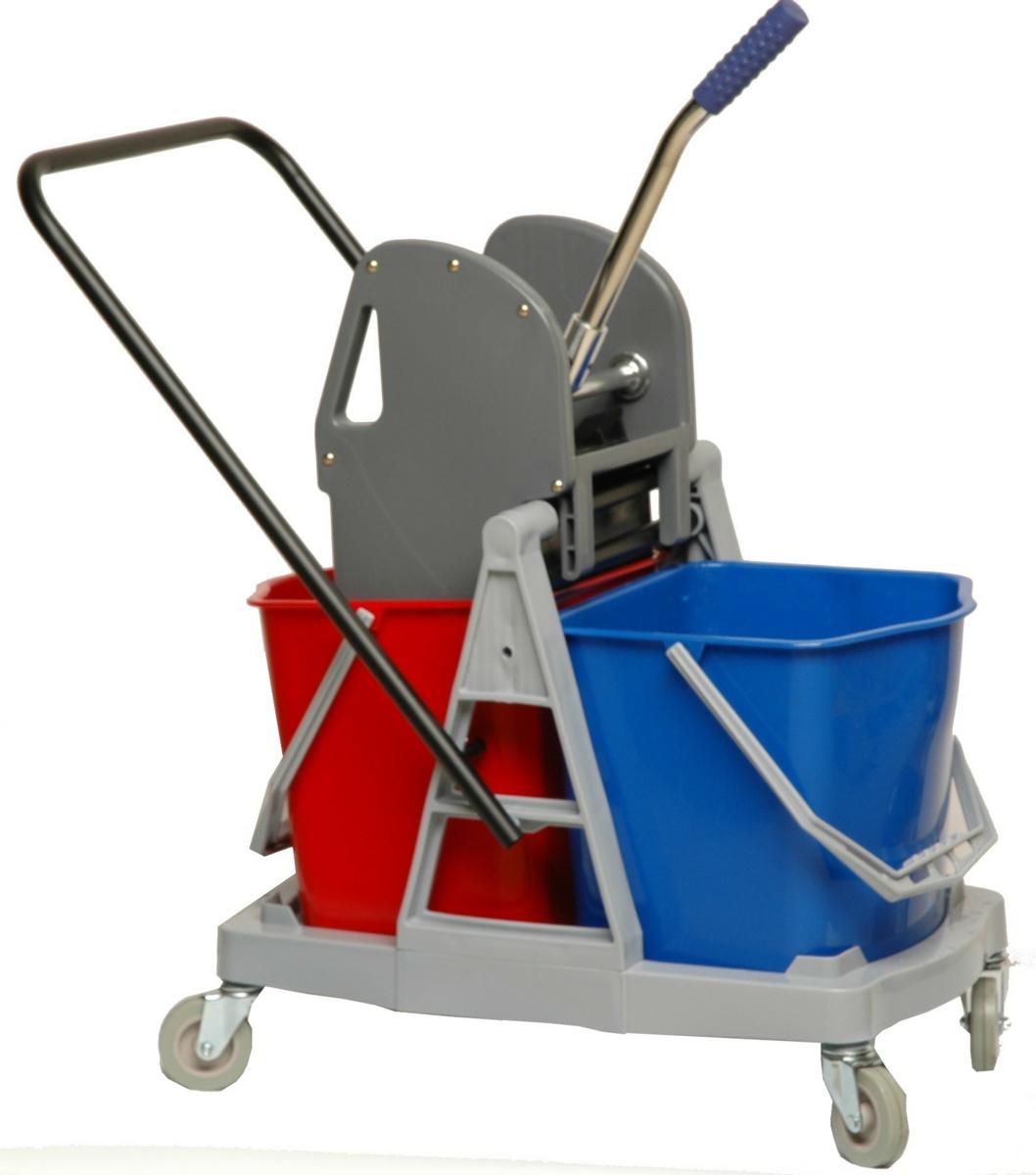 Chariot de ménage avec presse 2 seaux gris 17,50 l Brosserie Thomas