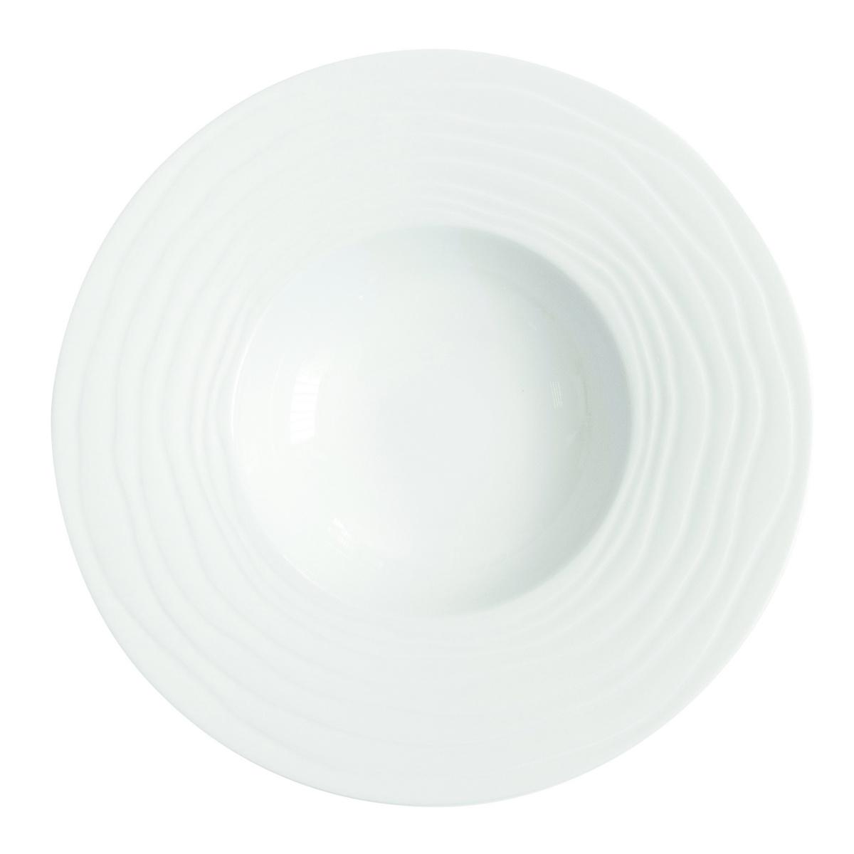 Assiette à pâtes ronde blanc porcelaine Ø 28 cm Onde Medard De Noblat