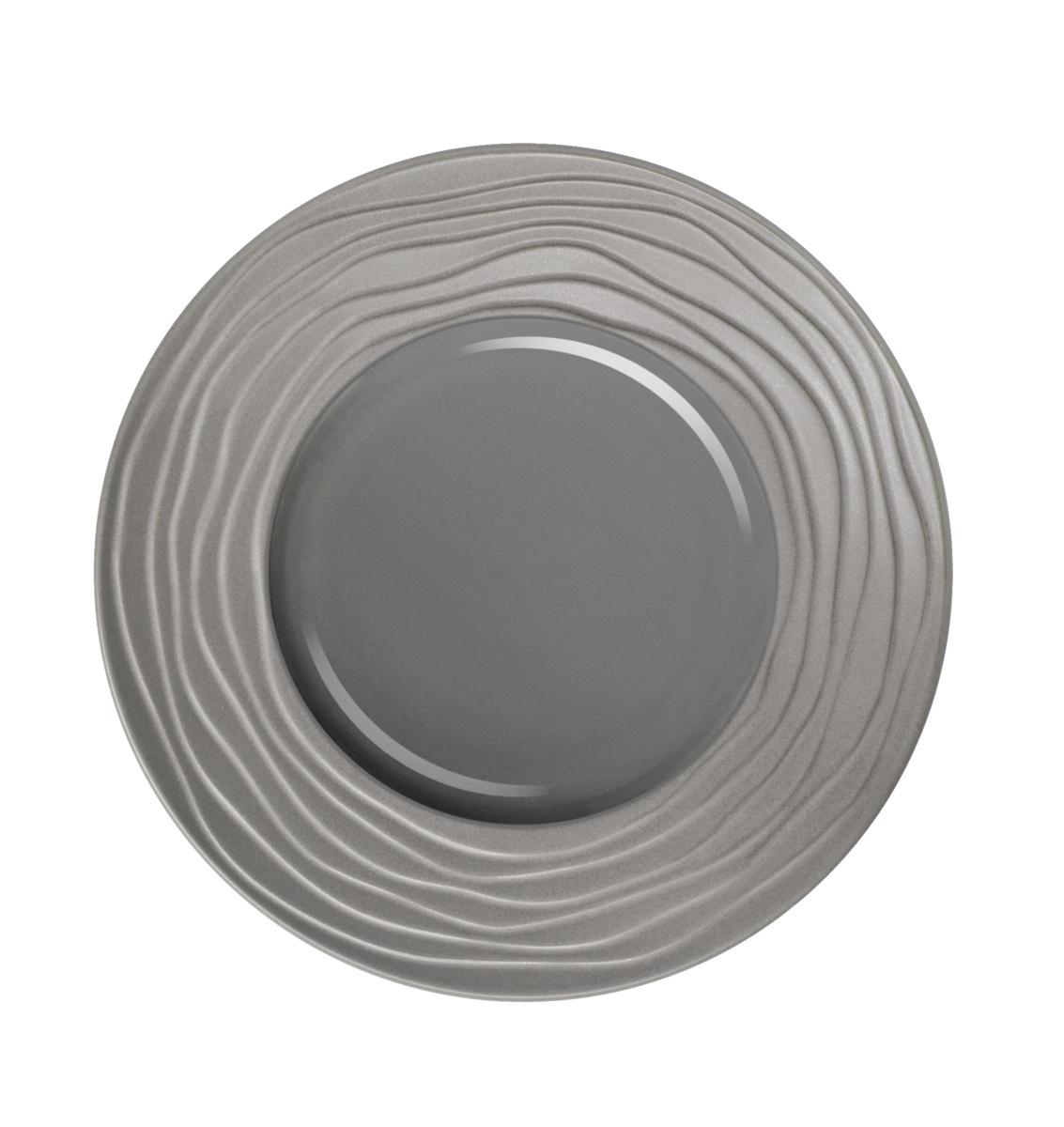 Assiette plate ronde gris grès Ø 21,50 cm Escale Medard De Noblat