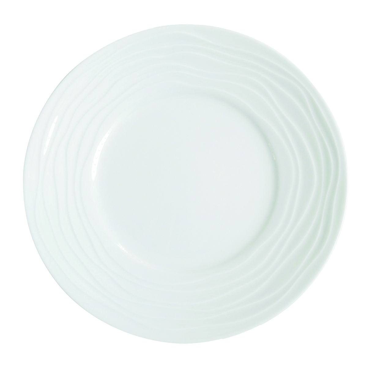 Assiette plate ronde blanc porcelaine Ø 21,50 cm Onde Medard De Noblat