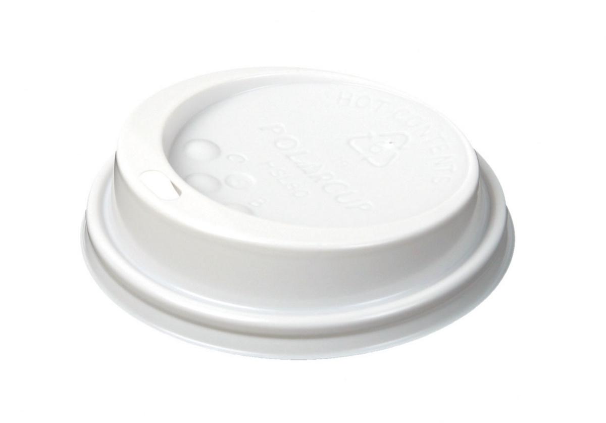 Couvercle pour gobelet blanc plastique Ø 8,30 cm Hot Cup Huhtamaki (100 pièces)