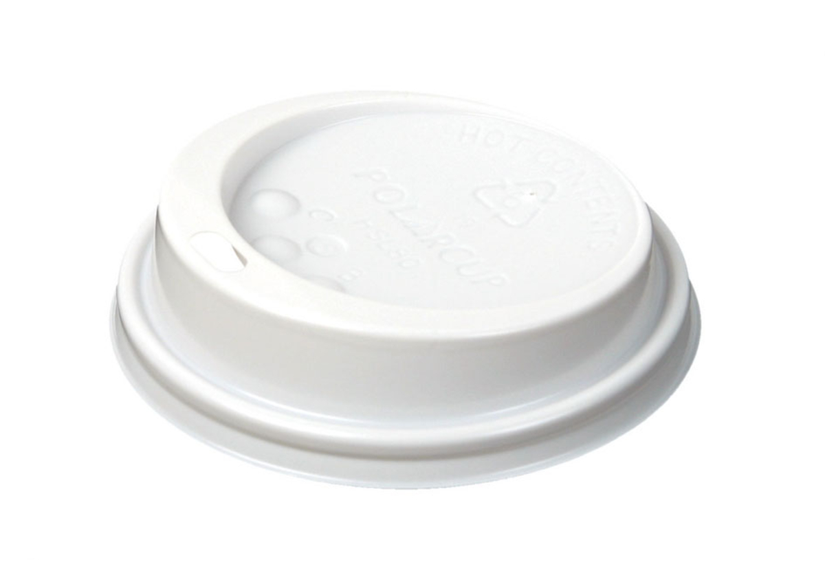 Couvercle pour gobelet blanc plastique Ø 7,30 cm Hot Cup Huhtamaki France (100 pièces)