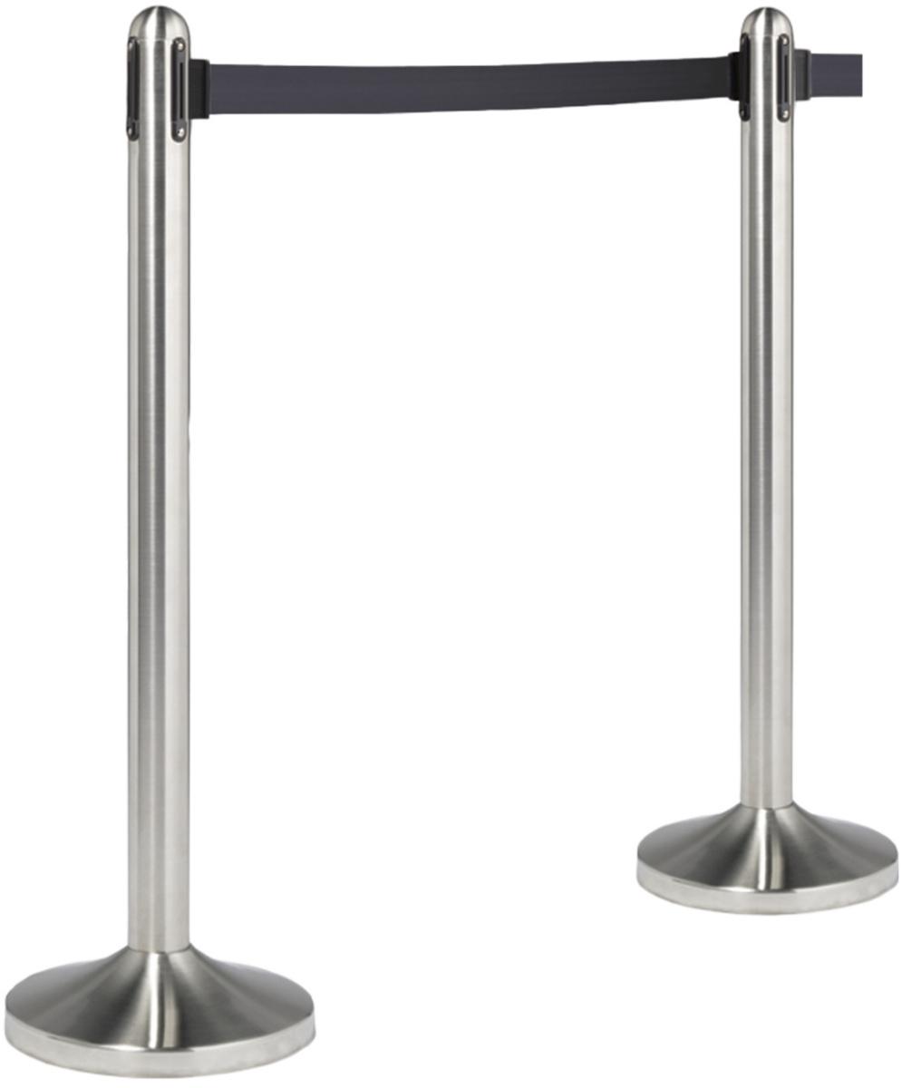 Poteau d'accueil à cordon rétractable noir 3,50x210 cm Securit