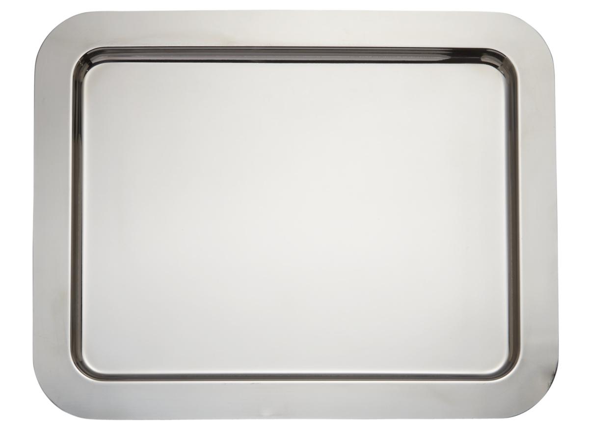 Plateau rectangulaire gris inox bord droit Traiteur Pro.mundi