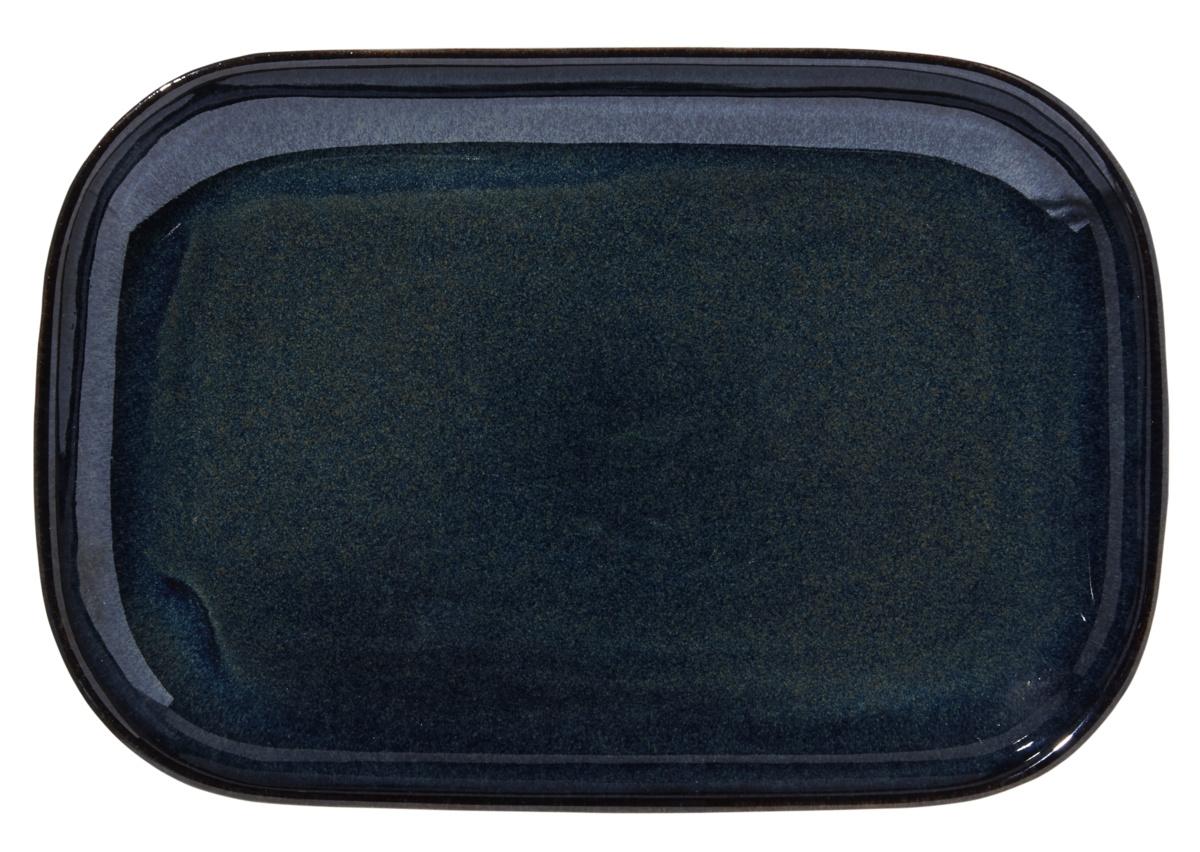 Assiette à steak rectangulaire bleue grès 19,50x29 cm Gres Couleur Pro.mundi
