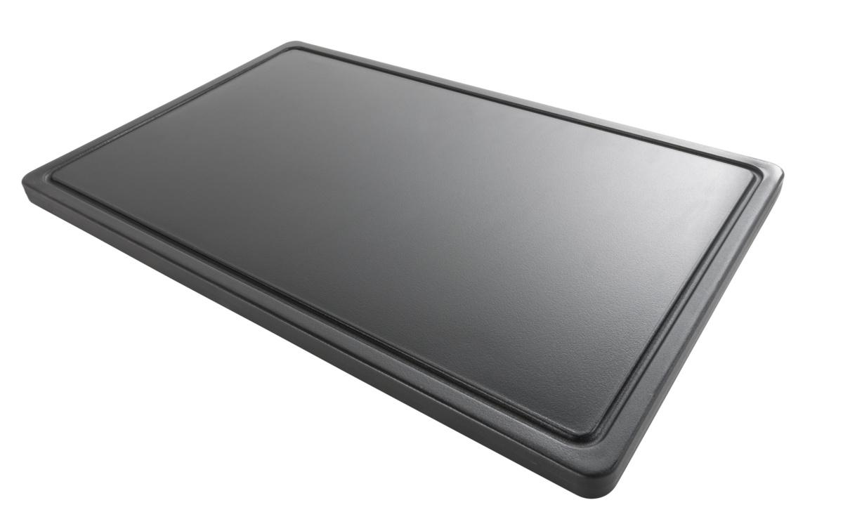 Planche à découper noire plastique polyéthylène haute densité (pehd) 32,50x53 cm gn 1/1 Avec rigole Non réversible Pro.cooker By Andy Mannhart