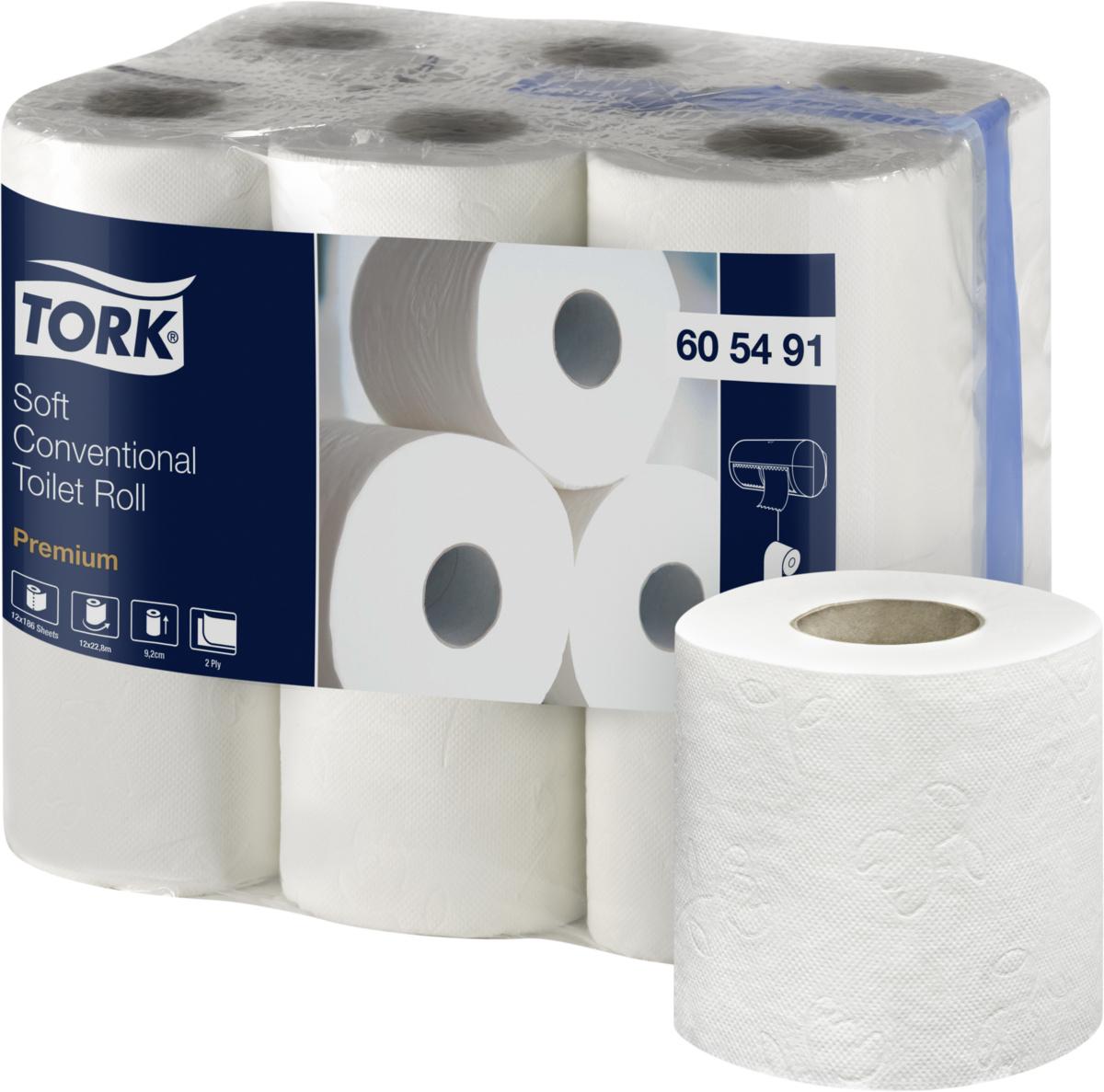 Papier hygiénique blanc ouate de cellulose 22,88 m Tork (108 pièces)
