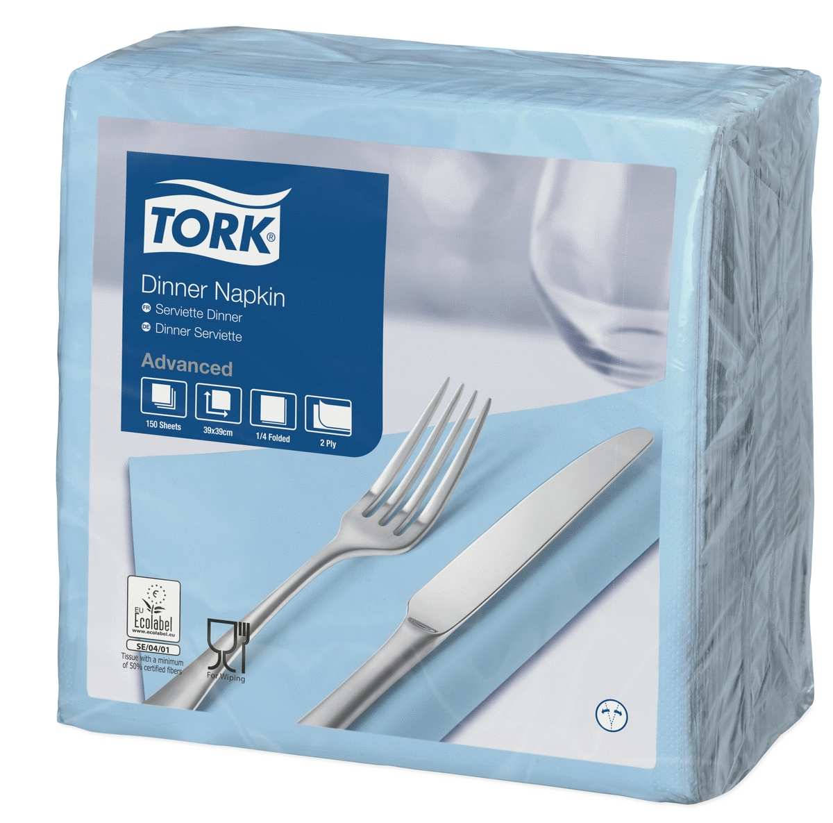 Serviette bleu clair ouate de cellulose 39x39 cm Tork (150 pièces)