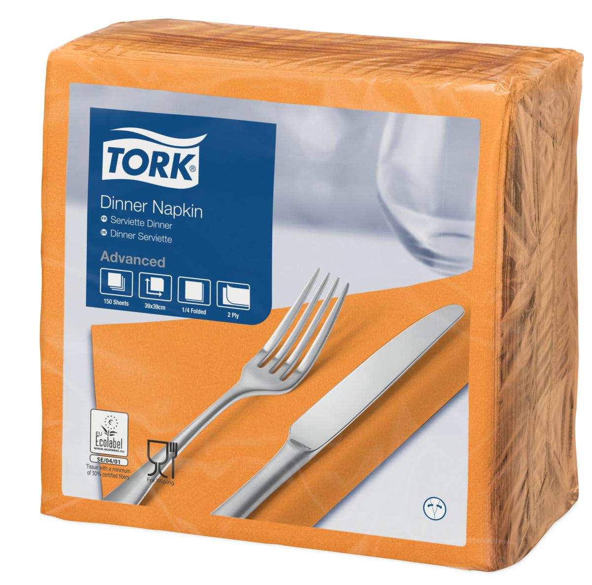 Serviette orange ouate de cellulose 39x39 cm Tork (150 pièces)