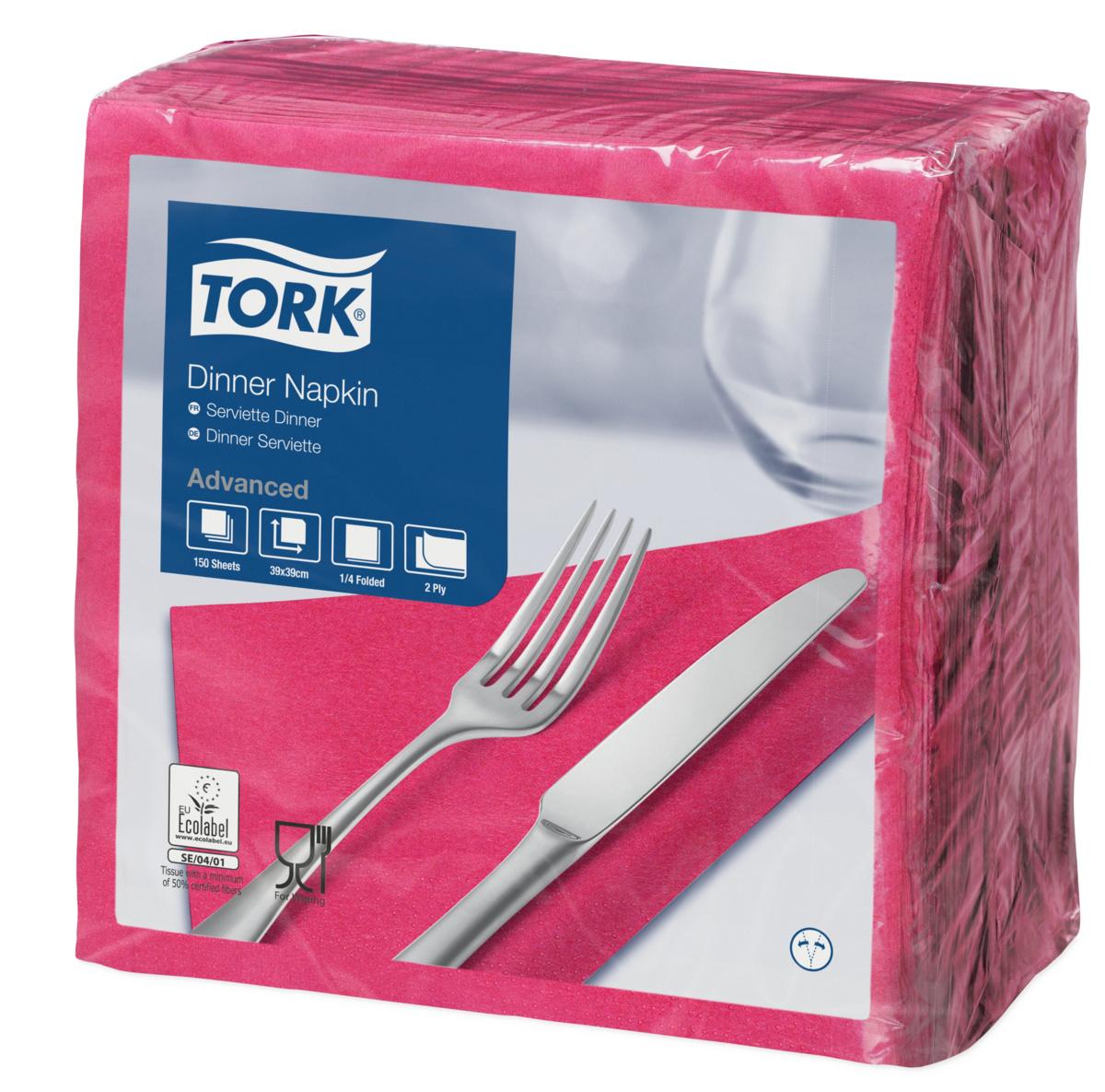 Serviette rose ouate de cellulose 39x39 cm Tork (150 pièces)