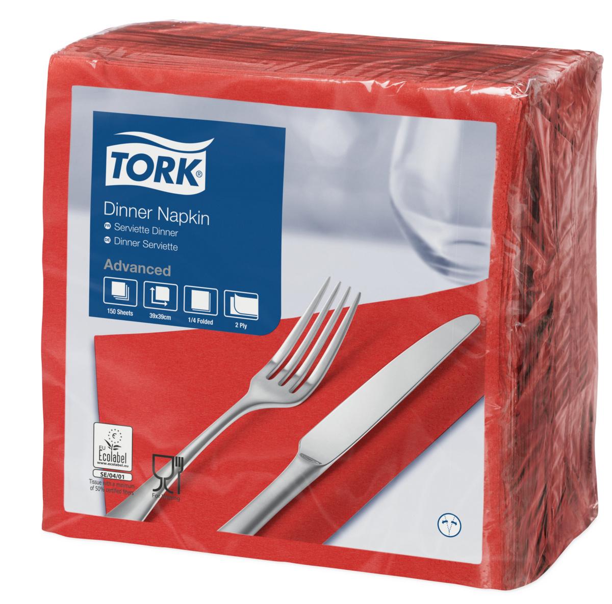 Serviette rouge ouate de cellulose 39x39 cm Tork (150 pièces)