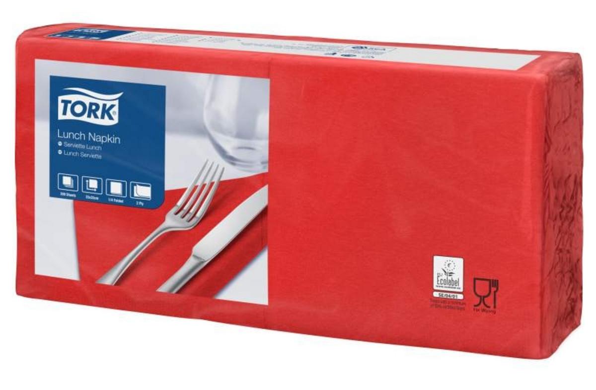Serviette rouge ouate de cellulose 33x33 cm Tork (200 pièces)