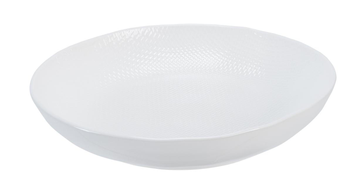 Assiette coupe creuse ronde blanc grès Ø 23,50 cm Linen Vaisselle Pro.mundi