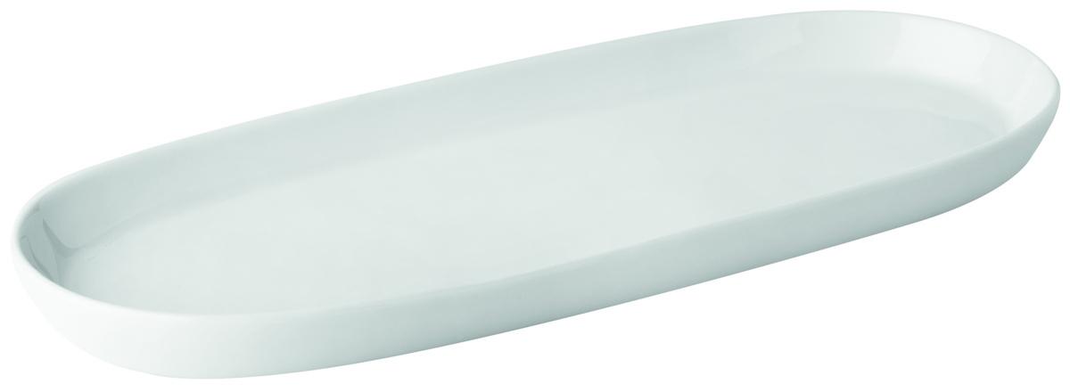 Assiette plate ovale blanc porcelaine 10,50x24,50 cm Canopee Pillivuyt