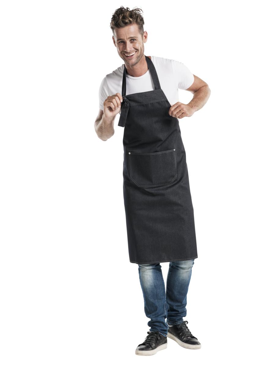 Tablier à bavette denim noir taille unique Chaud Devant