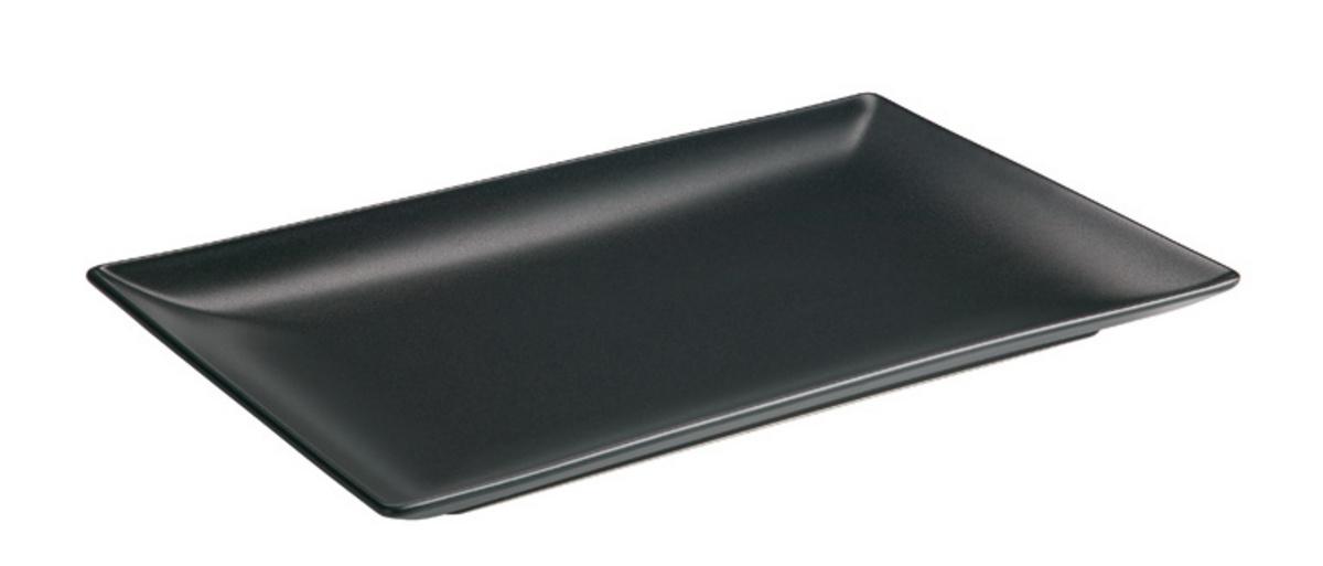 Assiette plate rectangulaire noir Bazik Noir