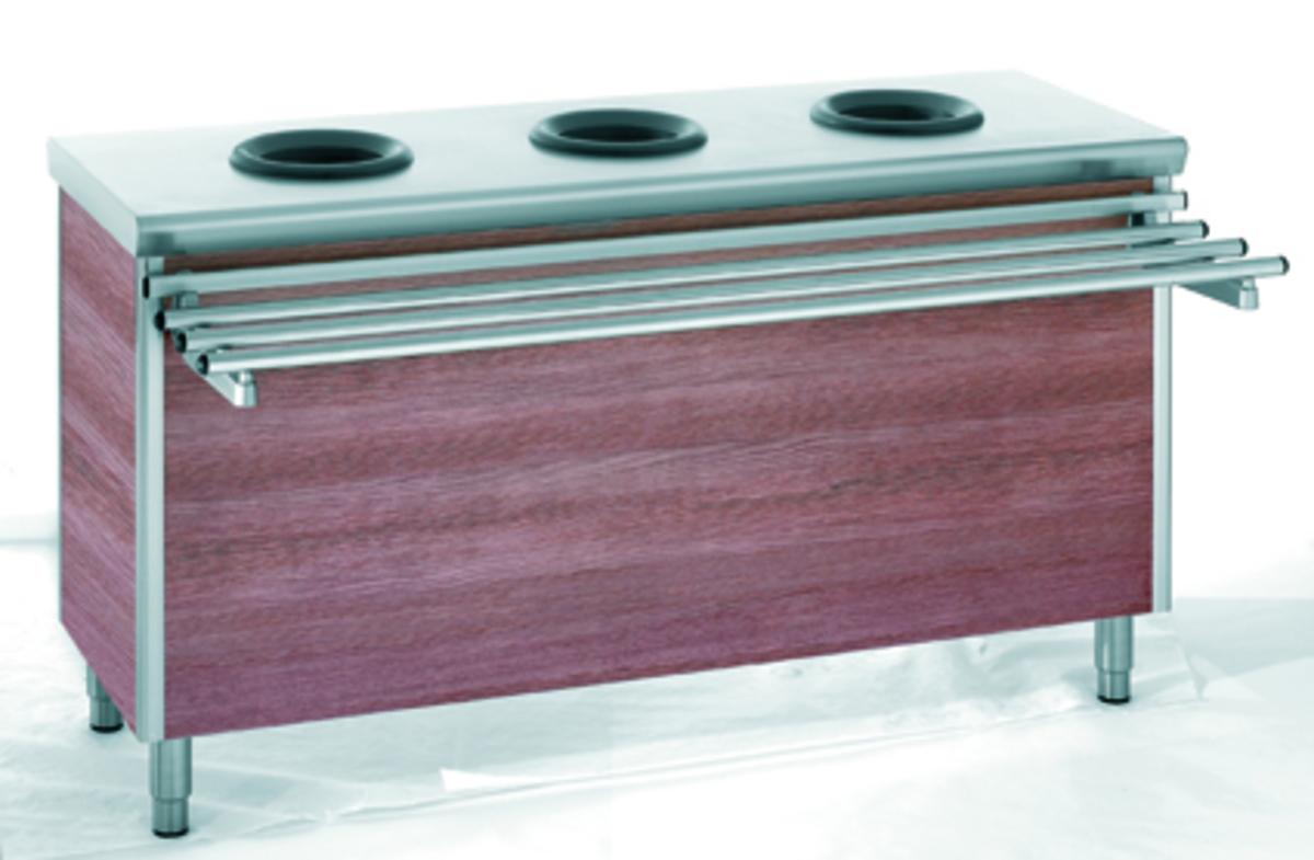 Meuble pré-tri 3 trous inox 60x170 cm Tournus